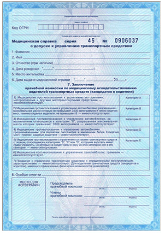 Стоимость медицинской водительской справки в Москве Строгино